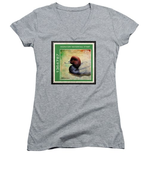 Bird Stamp Women's V-Neck T-Shirt