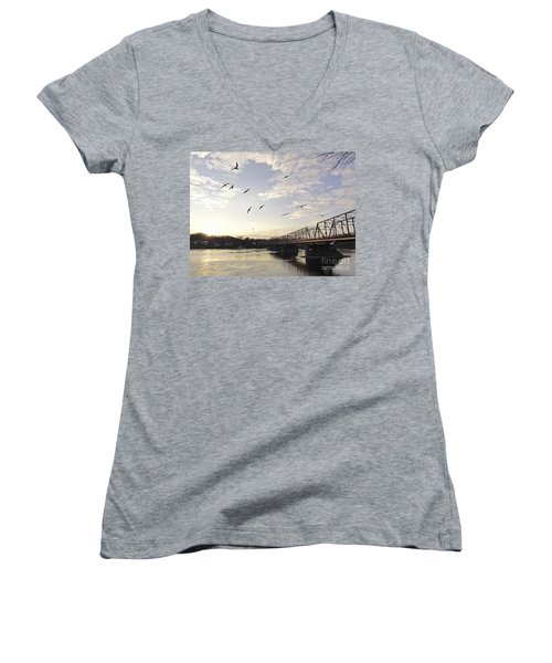 Birds And Bridges Women's V-Neck (Athletic Fit)