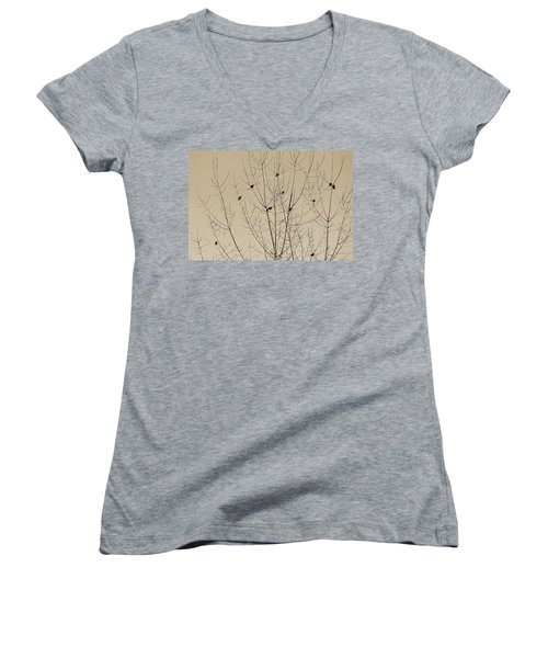 Birds Gather Women's V-Neck (Athletic Fit)