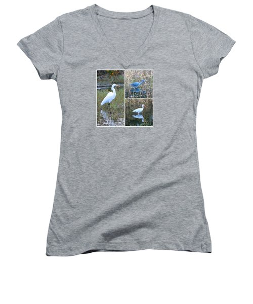 Birds On Pond Collage Women's V-Neck T-Shirt (Junior Cut) by Carol Groenen