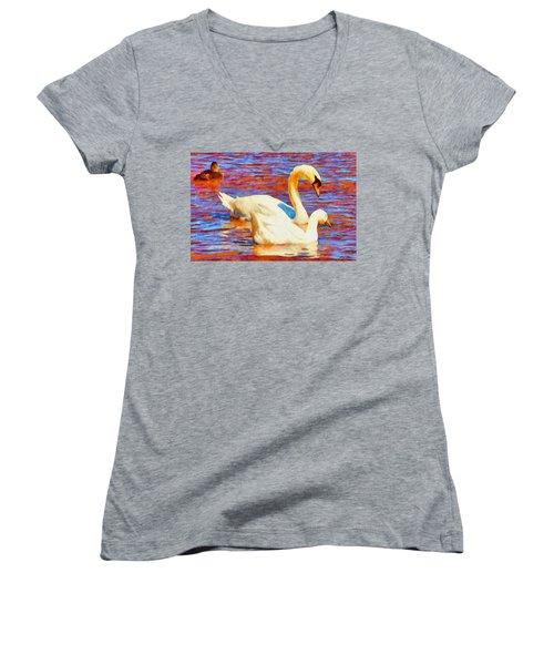 Birds On The Lake Women's V-Neck