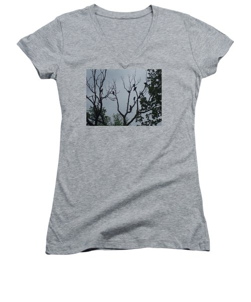 Women's V-Neck T-Shirt (Junior Cut) featuring the photograph Birds by Fortunate Findings Shirley Dickerson