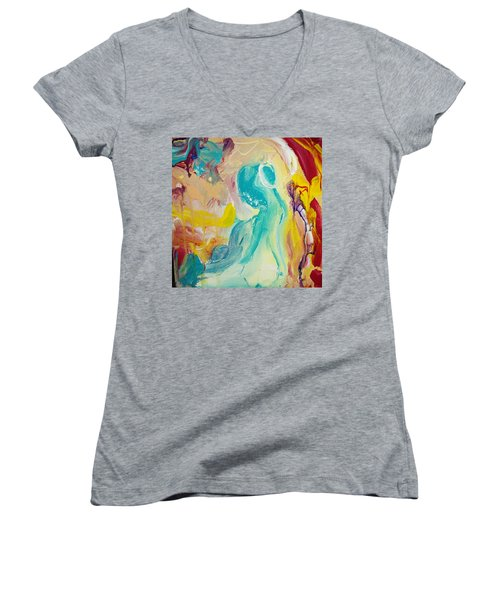 Birthing Chamber Women's V-Neck T-Shirt (Junior Cut) by Kelly Turner
