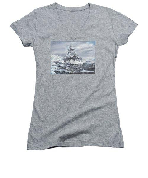 Bismarck Off Greenland Coast  Women's V-Neck T-Shirt