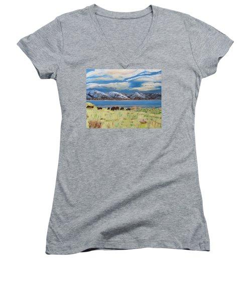 Bison On Antelope Island Women's V-Neck
