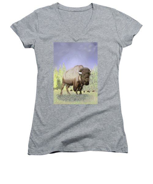 Bison On The Range Women's V-Neck