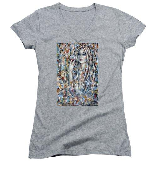 Bitter Sweet 270610 Women's V-Neck T-Shirt (Junior Cut) by Selena Boron