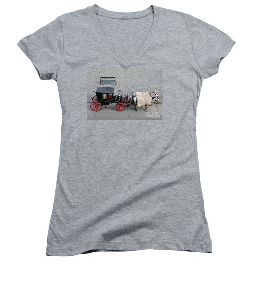Women's V-Neck T-Shirt (Junior Cut) featuring the photograph Black And Red Horse Carriage - Vienna Austria  by Imran Ahmed
