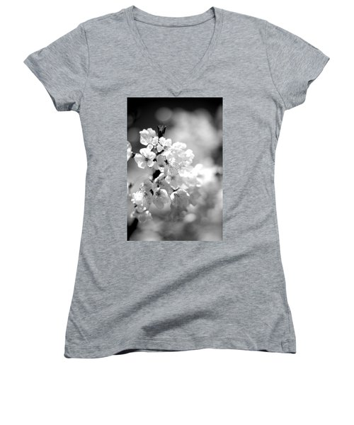 Black And White Blossoms Women's V-Neck (Athletic Fit)