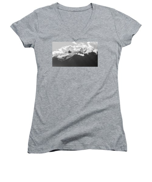 Women's V-Neck featuring the photograph Mountain Range Bute Inlet  by Roxy Hurtubise