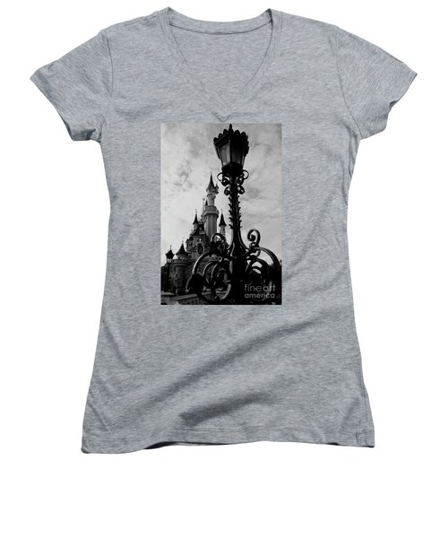 Black And White Fairy Tale Women's V-Neck T-Shirt