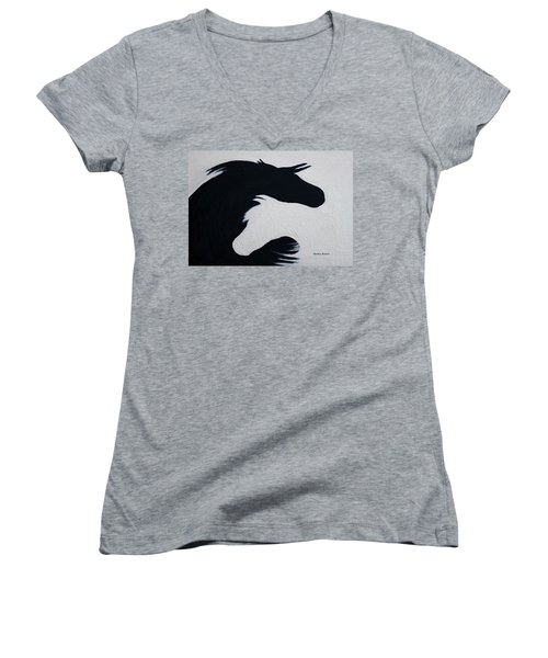 Black And White Horses Together Forever Women's V-Neck T-Shirt (Junior Cut) by Barbie Batson