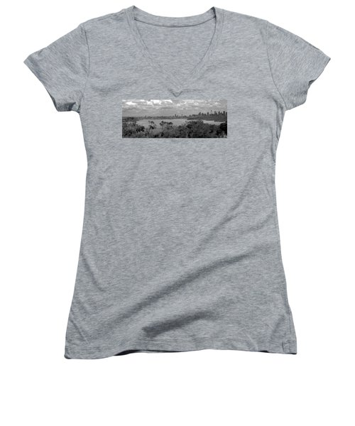 Women's V-Neck T-Shirt (Junior Cut) featuring the photograph Black And White Sydney by Miroslava Jurcik