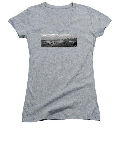 Black And White Sydney Women's V-Neck T-Shirt (Junior Cut) by Miroslava Jurcik