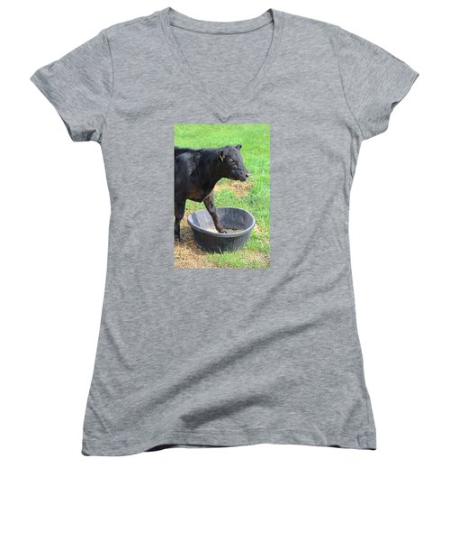 Black Angus Calf Women's V-Neck (Athletic Fit)