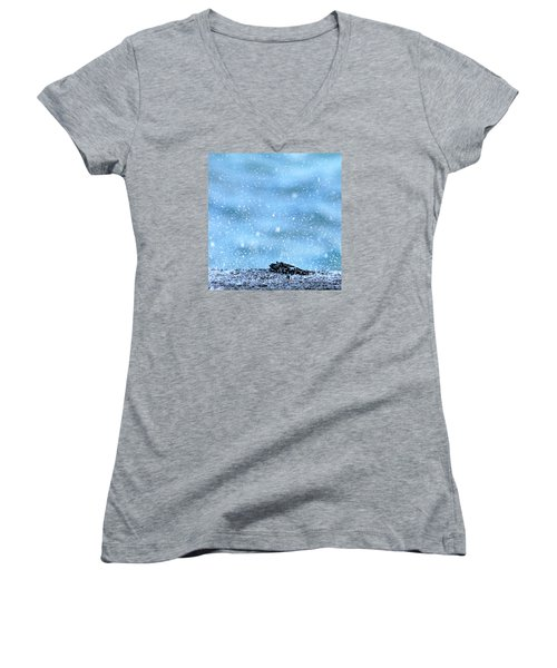 Women's V-Neck T-Shirt (Junior Cut) featuring the photograph Black Crab In The Blue Ocean Spray by Lehua Pekelo-Stearns