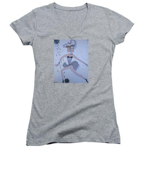 Black Dahlia Women's V-Neck T-Shirt (Junior Cut) by Marie Schwarzer