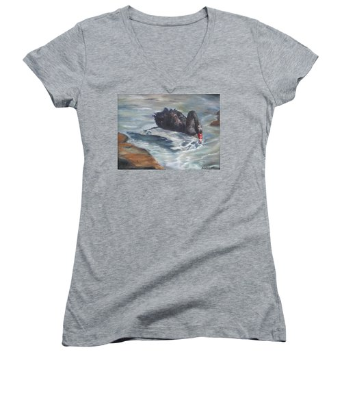 Women's V-Neck T-Shirt (Junior Cut) featuring the painting Black Elegance by Lori Brackett