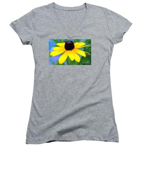 Women's V-Neck T-Shirt (Junior Cut) featuring the photograph Black Eyed Susan by Judy Palkimas