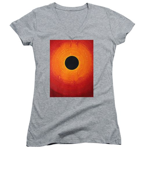 Black Hole Sun Original Painting Women's V-Neck