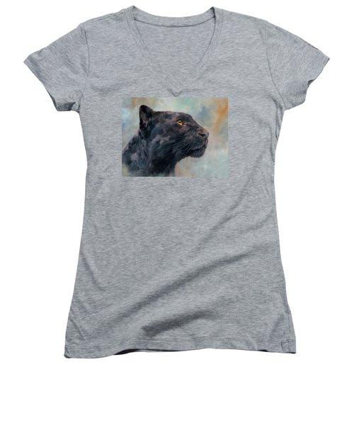 Black Panther Women's V-Neck T-Shirt (Junior Cut) by David Stribbling