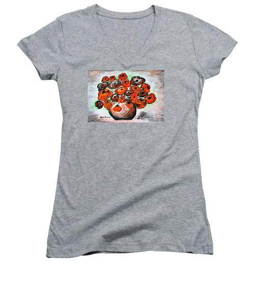Black Poppies Women's V-Neck T-Shirt (Junior Cut) by Ramona Matei