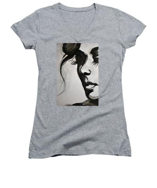 Women's V-Neck T-Shirt (Junior Cut) featuring the painting Black Portrait 16 by Sandro Ramani