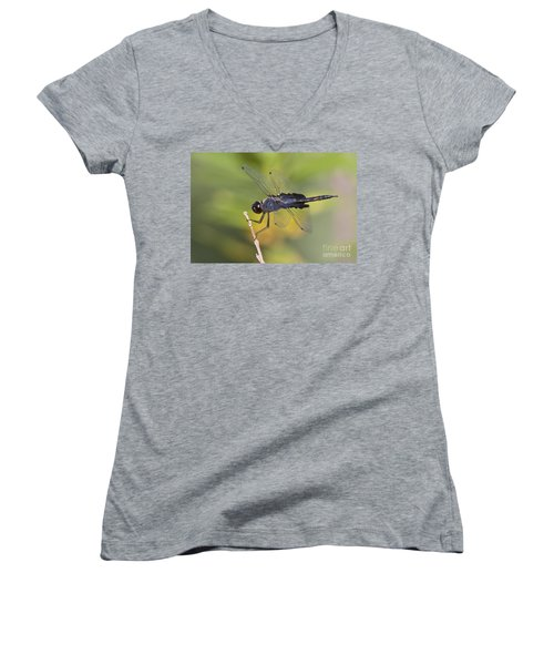 Women's V-Neck T-Shirt (Junior Cut) featuring the photograph Black Saddlebags by Bryan Keil