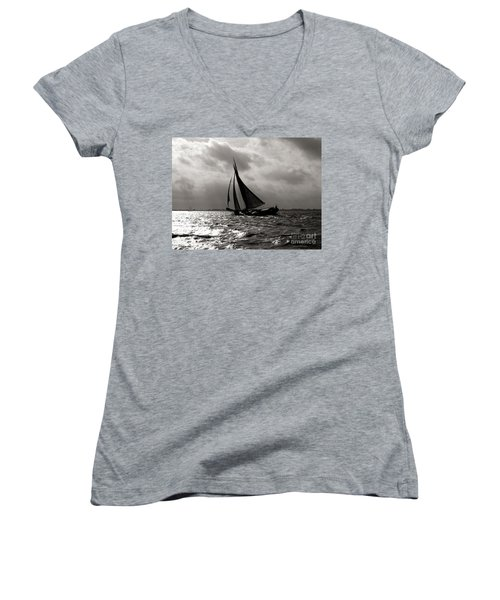 Women's V-Neck featuring the photograph Black Sail Sunset by Luc Van de Steeg