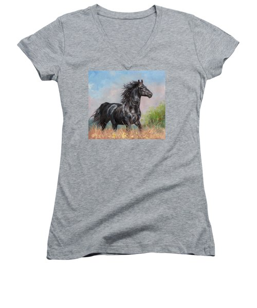 Black Stallion Women's V-Neck T-Shirt