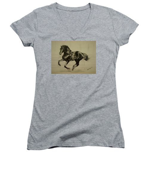 Women's V-Neck T-Shirt (Junior Cut) featuring the drawing Black Stallion by Melita Safran