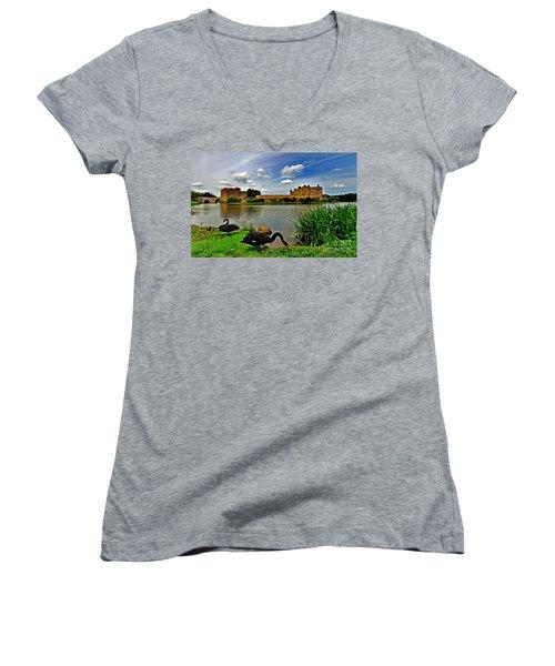 Black Swans At Leeds Castle II Women's V-Neck T-Shirt
