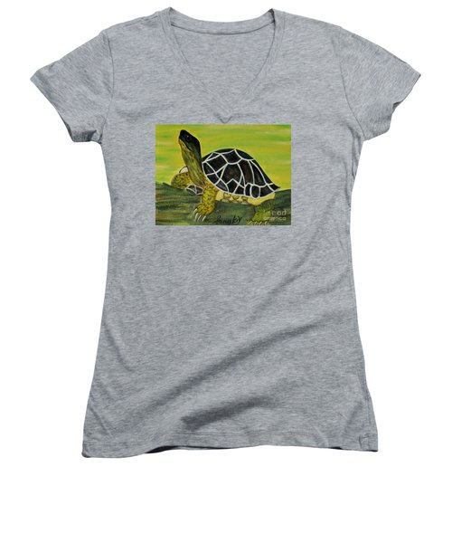 Women's V-Neck T-Shirt (Junior Cut) featuring the painting Black Turtle. Inspirations Collection. by Oksana Semenchenko