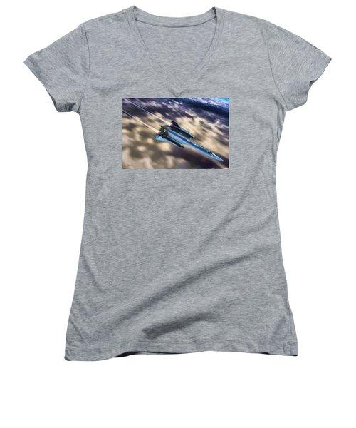 Blackbird Women's V-Neck T-Shirt (Junior Cut) by Dave Luebbert
