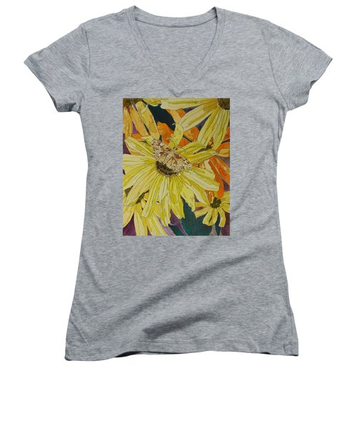 Blackeyed Susans And Butterfly Women's V-Neck