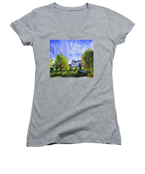 Blair Castle Bridge Scotland Women's V-Neck T-Shirt (Junior Cut) by John D Benson