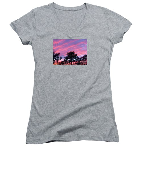 Women's V-Neck T-Shirt (Junior Cut) featuring the photograph Blazing Pines by Joy Hardee