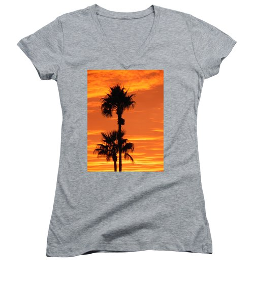 Women's V-Neck T-Shirt (Junior Cut) featuring the photograph Blazing Sunset by Deb Halloran