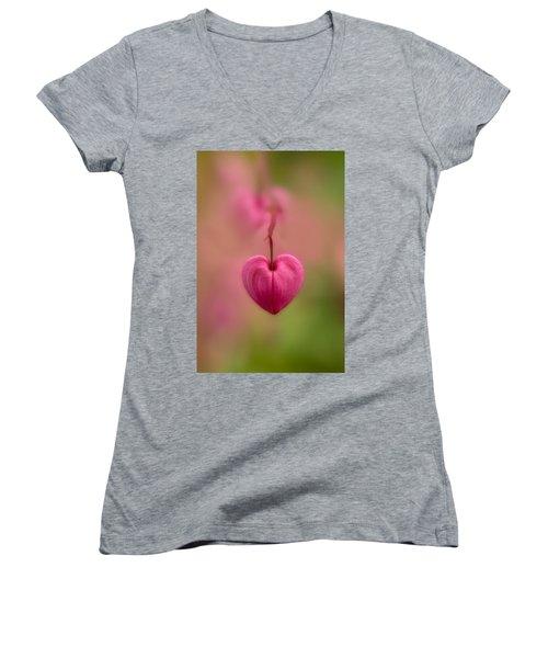 Bleeding Heart Flower Women's V-Neck