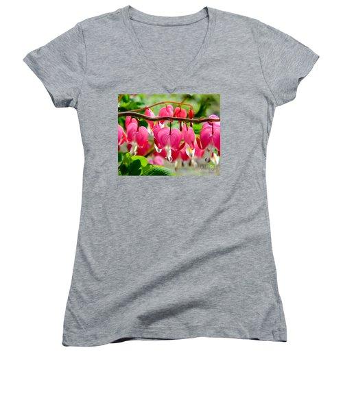 Bleeding Heart Flowers Women's V-Neck
