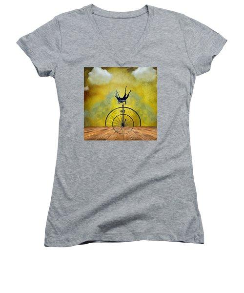 Blind Date Women's V-Neck T-Shirt (Junior Cut) by Ally  White