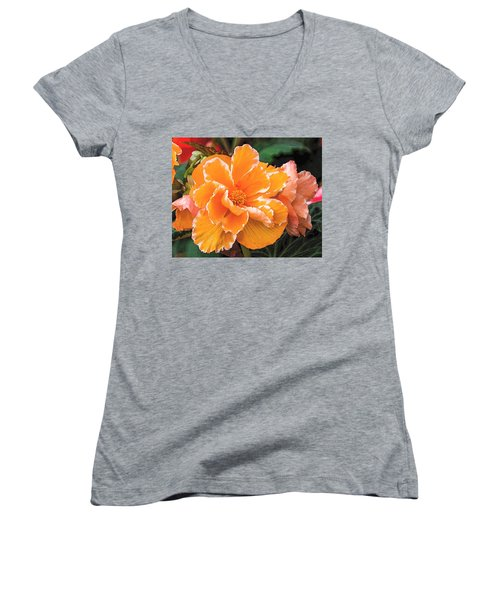 Blooming Begonia Image 1 Women's V-Neck (Athletic Fit)