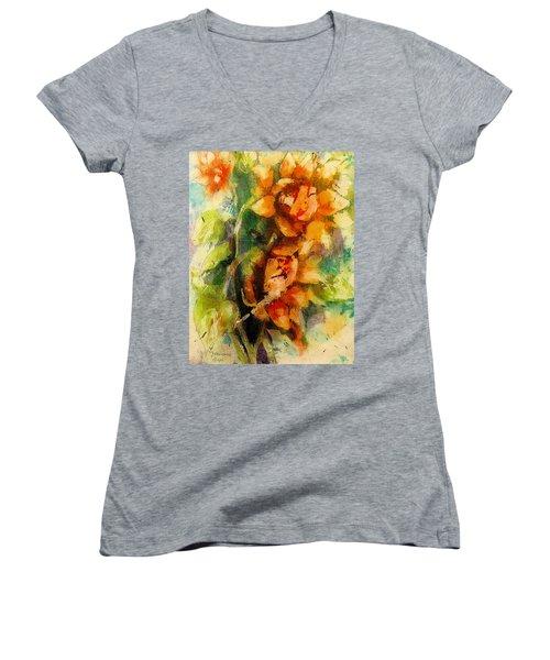 Blooming Flowers - Batik Women's V-Neck T-Shirt