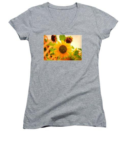 Blossoming Sunflower Beauty Women's V-Neck T-Shirt (Junior Cut) by Toni Hopper