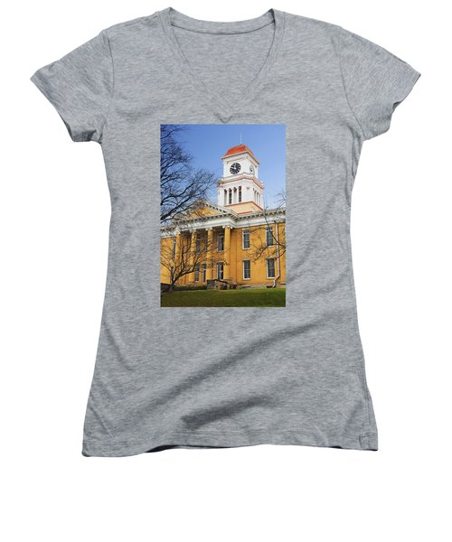 Blount County Courthouse Women's V-Neck T-Shirt (Junior Cut) by Melinda Fawver
