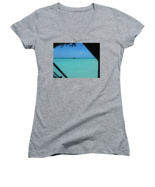Women's V-Neck T-Shirt (Junior Cut) featuring the photograph Blue And Green by Photographic Arts And Design Studio