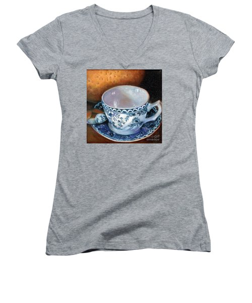 Blue And White Teacup With Spoon Women's V-Neck T-Shirt (Junior Cut) by Marlene Book