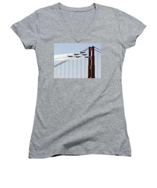 Blue Angels And The Bridge Women's V-Neck T-Shirt (Junior Cut) by Bill Gallagher