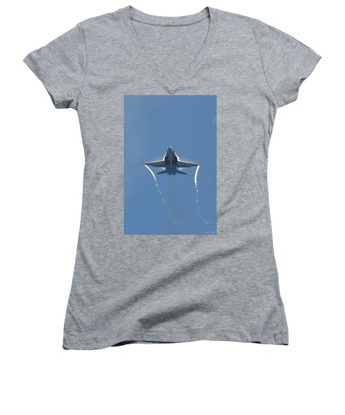 Women's V-Neck T-Shirt (Junior Cut) featuring the photograph Blue Angels Ghost Appears Head-on Over Pensacola Beach by Jeff at JSJ Photography