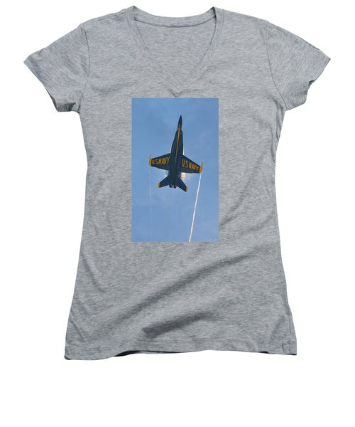 Women's V-Neck T-Shirt (Junior Cut) featuring the photograph Blue Angels Ghost Appears Over Pensacola Beach by Jeff at JSJ Photography